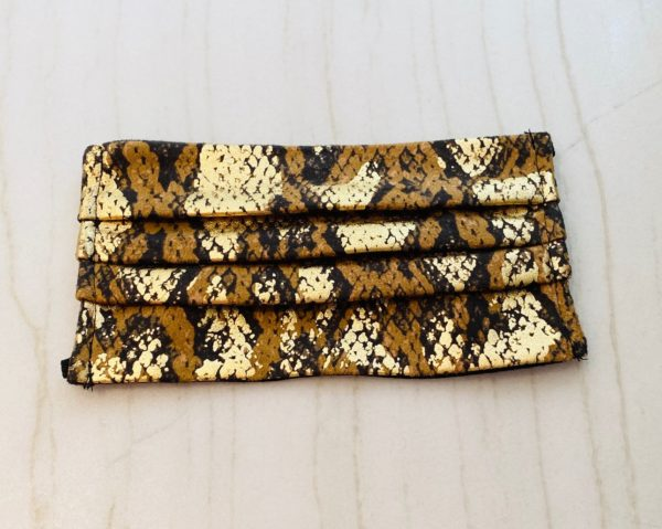 Gold Suede Python Modal Lined Face Mask