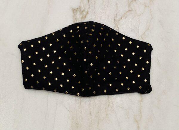 Black Gold Dots Face Mask